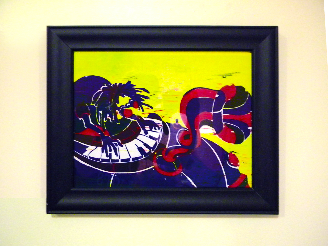 Music Man 13x11in Three Color Wood Block Print